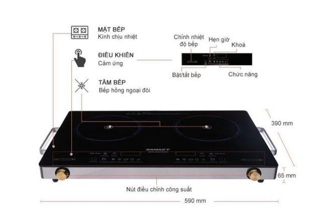 Bếp hồng ngoại đôi Sanaky SNK-203HGNW